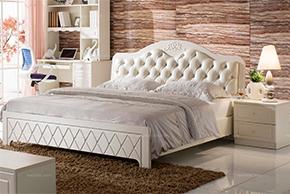 皮艺拉扣软包靠背设计 美观大气菱形雕刻纹路 环保吸塑工艺 1.8米床板床